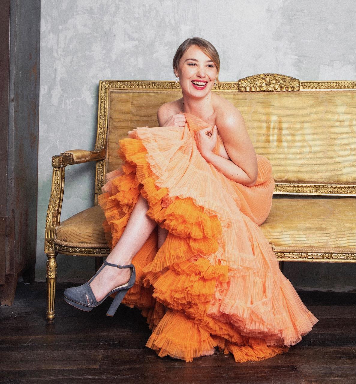 Deborah Francois in Julien Fournié Haute Couture dress setting
