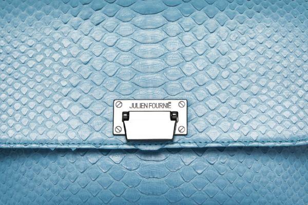 Sac à main bleu en python Julien Fournié Haute Couture