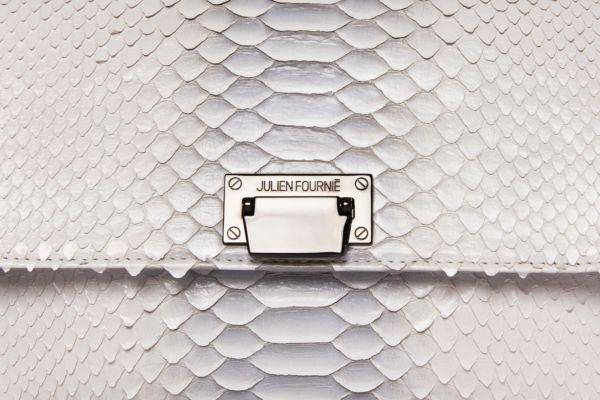 Sac à main blanc et gris en python Julien Fournié
